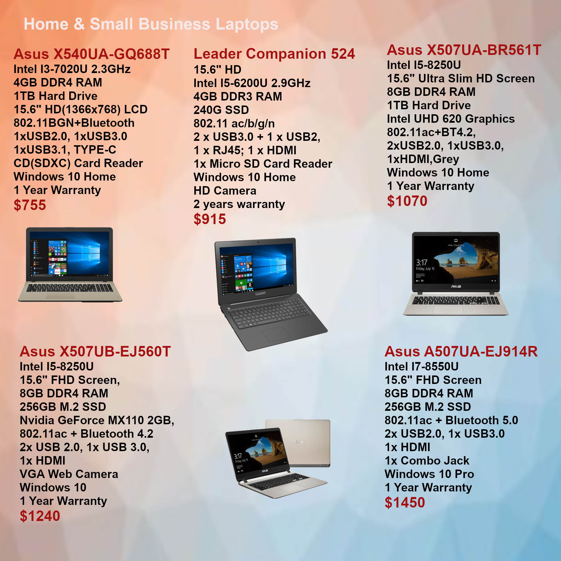Home & Business laptops